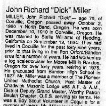 "Image of John Richard ""Dick"" Miller obituary"