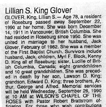 Image of Lillian S. King Glover obituary
