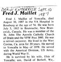 Image of Fred J. Maillet obituary