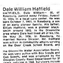 Image of Dale William Hatfield obituary