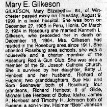 Image of Mary Elizabeth Gilkeson obituary