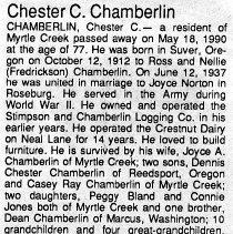Image of Chester C. Chamberlain obituary