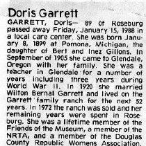 Image of Doris Garrett obituary