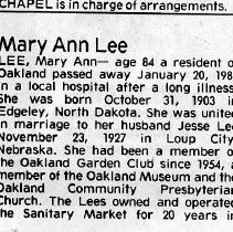 Image of Mary Ann Lee page 1 obituary