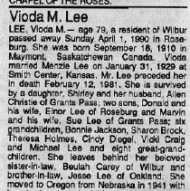 Image of Vioda M. Lee obituary