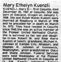 Image of Mary Ethelyn Kuenzli obituary