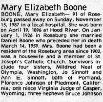 Image of Mary Elizabeth Boone page 1 obituary