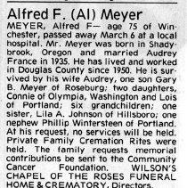 "Image of Alfred F. ""Al"" Meyer obituary"