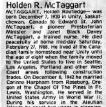 Image of Holden Routledge McTaggart obituary