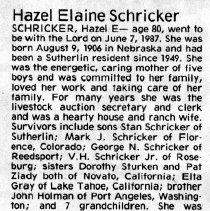 Image of Hazel Elaine Schricker obituary
