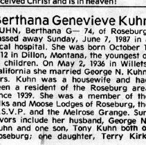 Image of Berthana G. Kuhn page 1 obituary