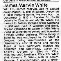 Image of James Marvin White obituary
