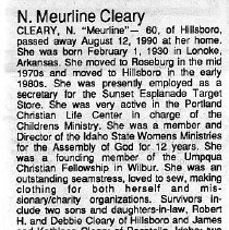 Image of N. Meurline Cleary obituary