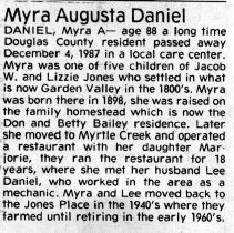 Image of Myra Augusta Daniel page 1 obituary