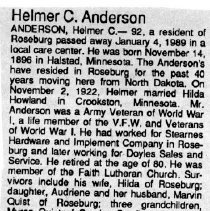 Image of Helmer C. Anderson obituary