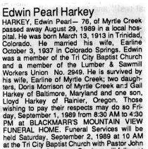Image of Edwin Pearl Harkey obituarry