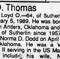 Image of Loyd O. Thomas page 1 obituary