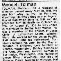 Image of Mondell Tolman obituary