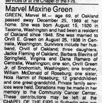 Image of Marvel Maxine Green obituary