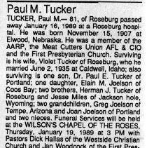 Image of Paul M. Tucker obituary