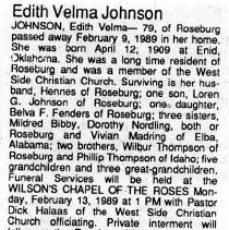 Image of Edith Velma Johnson obituary