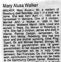 Image of Mary Alusa Walker obituary