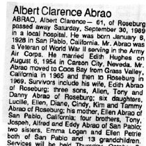 Image of Albert Clarence Abrao obituary