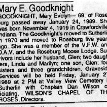 Image of Mary Evelyn Goodknight obituary