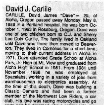 "Image of David James ""Dave"" Carlile obituary"