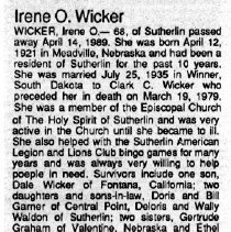 Image of Irene O. Wicker obituary