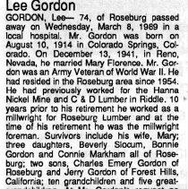 Image of Lee Gordon obituary