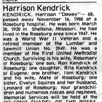 """Image of Harrison """"Dewey"""" Kendrick obituary"""