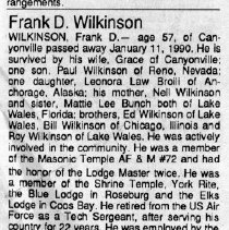 Image of Frank D. Wilkinson obituary