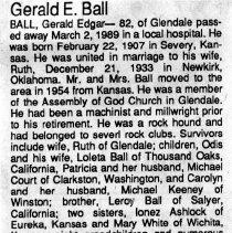 Image of Gerald Edgar Ball obituary