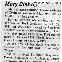Image of Mary Overcash Bishop obituary