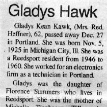 Image of Gladys Kean Hawk obituary
