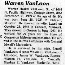 Image of Warren Haskel VanLoon, Sr. obituary