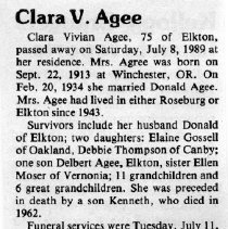 Image of Clara Vivian Agee obituary