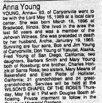 Image of Anna Young obituary