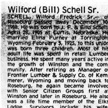 "Image of Wilford ""Bill Schell Sr. page 1 obituary"