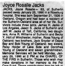 Image of Joyce Rosalie Jacks obituary