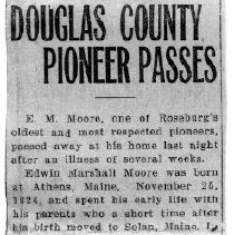 Image of Edwin Marshall Moore page 1 obituary