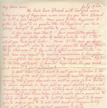 Image of Letter from Warren T. Hanley to his son Clair Norton Hanley - Hanley Family Collection