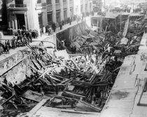 Image of Subway Cave in and NYRailway Trolley Accident, September 22, 1915.