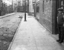 Image of Subway construction on Minetta Lane, New York, NY