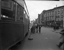 Image of Flatbush Avenue and Bergen Street, Brooklyn, NY (boys boarding trolley car)