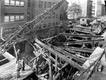 Image of View of Plank Road Collapse Along Schermerhorn Street; IND Crosstown Line,