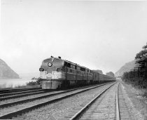 Image of 20th Century Limited along the Hudson River