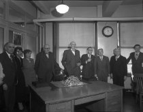 Image of Office workers at an anniversary celebration, 1949