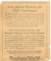 Image of Receipt - Montgomery Ward 1931 muslin reverse